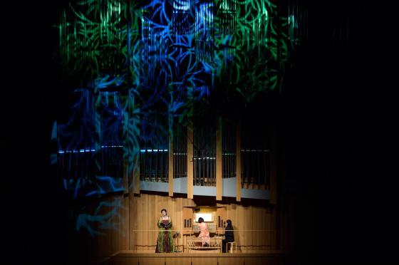 〔写真〕パイプに重なる葉っぱのような照明をあてた中での演奏