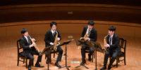 【写真】素晴らしい演奏を聴かせてくださった、レヴ・サクソフォンカルテット。息を合わせて演奏中の様子。